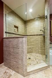 Walk In Tile Shower Travertine Cobblestone Floor On The Shower And Large Porcelain