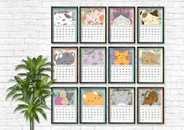 2018 calendar planner cute cats printable calendar instant