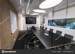 aquarium office. Modern Equipped Office With Aquarium \u2014 Stock Photo