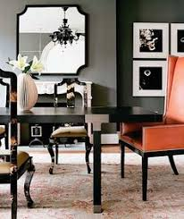 black lacquer modern dining table and glossy black asian dining room chairs leather orange captain wingback wing back chairs with nail head trim