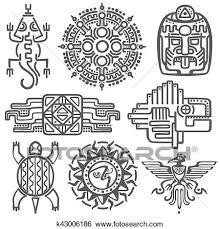 Mayan Patterns Delectable Clip Art Of Ancient Mexican Vector Mythology Symbols American Aztec