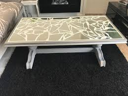 large shabby chic mirror mosaic coffee table with glass top
