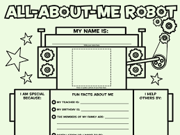 All About Me Worksheets Pdf All About Me Robot Fill In Poster Worksheets Printables