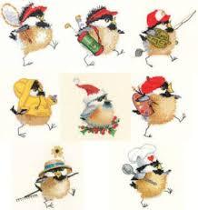 Set Of 8 Chickadees Valerie Pfeiffer Cross Stitch Cross