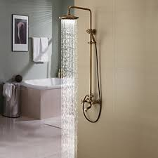 faucet shower head. Antique Brass Tub Shower Faucet With 8 Inch Head \u0026 Hand P