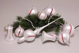 21tlg Set Weiß Matt Mit Rot Geschwungenem Streifen Lauschaer Weihnachtskugeln Aus Glas