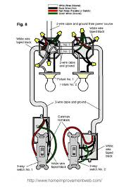 power through the lights to three way switches has two wire cable and ground between the light bo and three wire cable and ground at the switches