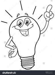 Light Bulb Coloring Page Outlined Cartoon Light Bulb Vector Illustration Stock Image