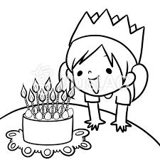誕生日ケーキを見つめる女の子線画塗り絵イラスト No 868309無料