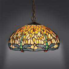 Tiffany Libelle Stil Glaslüster Mit Lampenschirm Gelbes Glas