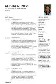 Bartender Resume Samples Visualcv Resume Samples Database