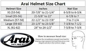 Arai Ck6 Size Chart 76 Ageless Arai Helmets Size Chart