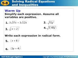 holt mcdougal algebra solving radical equations and inequalities