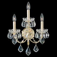 century 3 light 110v wall sconce in etruscan gold with clear heritage crystal