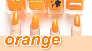 比較100均ダイソーセリアキャンドゥのオレンジカラーポリッシュ