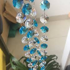 5meters lot 14mm octagon beads transpa aquamarine chains glass crystal strands crystal chandelier bead