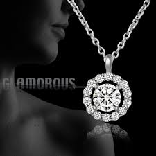womens 925 sterling silver micro pave round cubic zirconia pendant necklace gift