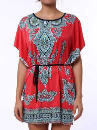 Ethnic Style Scoop Neck Print Color Block Short Sleeve Women S T