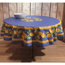 frenchictoyou le tissu provencal round tablecloth cotton blue lemon 70 inches