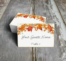 Fall Place Cards Fall Autumn Leaves Berries Wedding Place Cards Tags Or