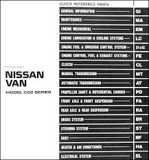 nissan vanette electrical wiring diagram nissan 1988 nissan van repair shop manual original on nissan vanette electrical wiring diagram