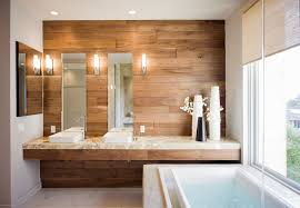 contemporary bathroom with brown wooden wall design