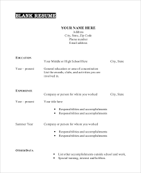 Free Printable Resume Template Blank