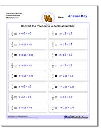 Common Fraction To Decimal Conversion Chart Fraction To Decimal Drills