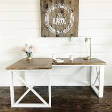 l shaped double x desk featuring handmade haven and the rustic barn