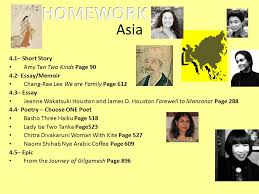 english ii homework unit homework each week use your glenco  asia 4 1 short story amy tan two kinds page 90 4 2 essay memoir