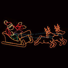 lights reind uk studio outdoor decoration waving santa with sleigh and reindeer lawn
