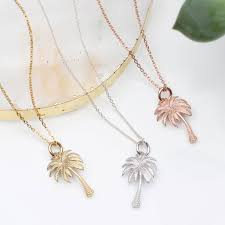 18ct gold or silver palm tree necklace