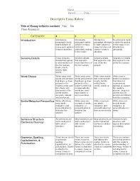 7th Grade Essay Writing Descriptive Writing Rubric Google Search Writing Writing