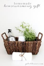 Toiletries In Basket For Housewarming Gifts