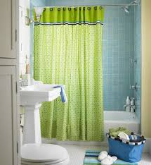 bathroom cute lime green accents curtain for small bathroom design idea using blue tiles wall