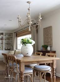 french country chandelier breakfast room farmhouse table chairs gorgeous