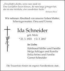 Traueranzeigen von Ida Schneider   www.vrm-trauer.de