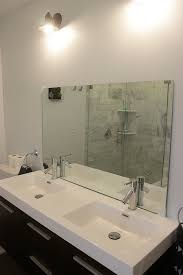 install bathroom. Unhung Bathroom Mirror Install