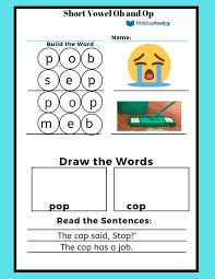 Here, you will find free phonics worksheets to assist in learning phonics rules for reading. Phonics Worksheet Short Vowel Ob And Op Learn To Read Program