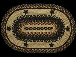 primitive country braided area rugs star black oval rectangle 4x6 5x8