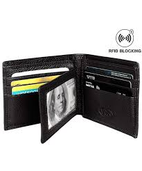tri fold windows slim rfid leather bifold wallet men women flipout 2 id windows wallet trifold w gift box black c51205fktn9