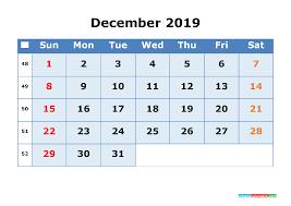 Week Number Calendar 2019 Calendar With Week Numbers Free Download