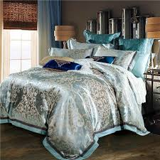 whole luxury jacquard silk bed linen blue red pink silver gold satin bedding set bedspread queen king size duvet cover sheet set twin bedding sets