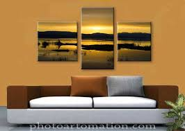 3-pice canvas wall art from landscape photo split on tree panels