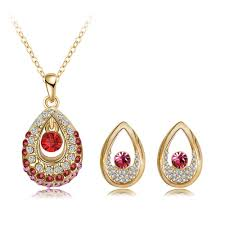2016 new arrival women jewelry set 18k gold plate with china aaa crystal pendant earrings set fashion jewelry whole st0014 realbig com