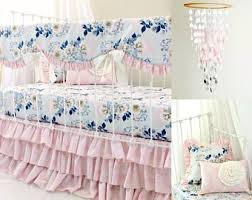 E Baby Girls Pink And Gray Crib Bedding  Ethereal Lullaby Bumperless Crib Set  Floral Rail Cover  Sheet U0026 Pink Ruffle Skirt
