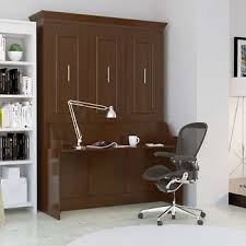 Murphy bed office Custom Bed Room Porter Queen Portrait Wall Bed With Desk In Walnut Costco Wholesale Wall Beds Costco
