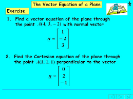 find the cartesian equation of the plane through the point perpendicular to the vector the vector equation of a plane exercise 1