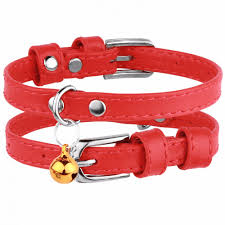 leather cat collar with bell red kitten collar