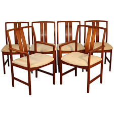 set of 6 teak danish modern slat back dining room chairs teak dining room chairs danish
